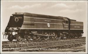 RP Postcard Battle of Britain Class Locomotive WINSTON CHURCHILL British Rail