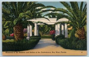 Postcard FL Key West Memorial Confederate Soldiers Sailors Confederacy Linen B07