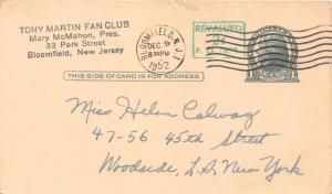 TONY MARTIN~AMERICAN POP CROONER~FAN CLUB HANDWRITTEN MESSAGE POSTCARD 1950s