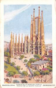 Spain Old Vintage Antique Post Card Temple de la Sainte Famille Barcelona Unused