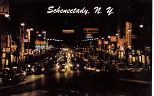 SCHENECTADY , New York , 50-60s ; West on State Street at night