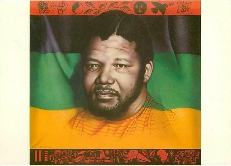 Nelson Mandela And Anc Flag Original 1988 Postcard Hippostcard