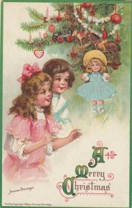AS; Frances Brundage, 1900-10s; CHRISTMAS, Girls admiring doll, decorated tree