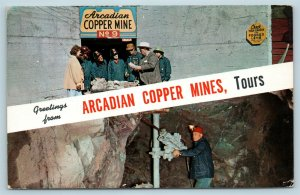 Postcard MI Ripley Michigan Greetings Arcadian Copper Mines Tours Drill AF11