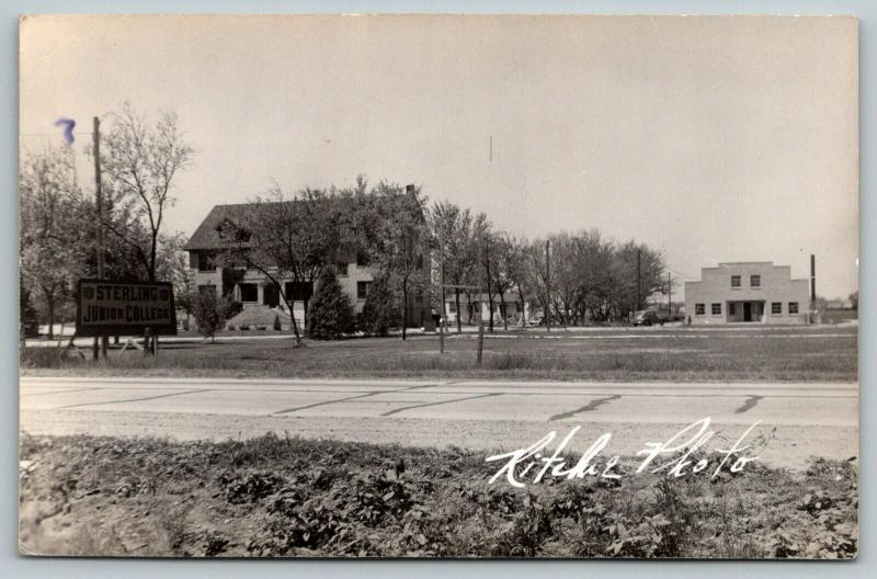 Sterling Colorado~NJC Junior College Campus~Roadside Sign~House~1940s RPPC