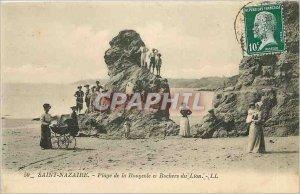 Old Postcard Saint Nazaire Measles Beach and Lion Rocks
