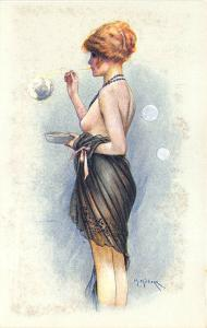 Black Negligee Woman Partial Nude Blowing Bubbles Maurice Milliere Postcard