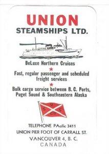 UNION Ocean Line Company Calender card , 1956