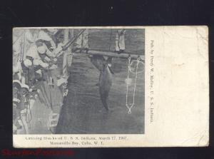 MANZANILLO BAY CUBA W.I. SHARK FISHING USS INDIANA NAVY SHIP VINTAGE POSTCARD