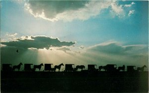 Postcard Amish Country Silhouetted Convoy