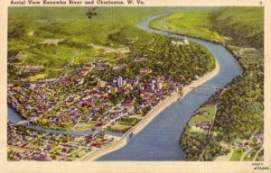 CHARLESTON, WV AERIAL VIEW KANAWHA RIVER 1943