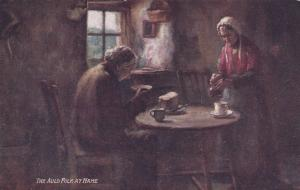 TUCK #9479, The Auld Folk at Hame, Couple at dinner table eating bread
