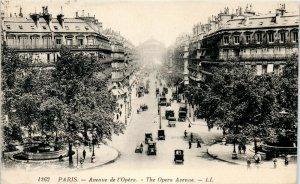 Avenue de l'Opera Paris vintage postcard great 1920s cars