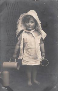 B84/ Woodstock New Brunswick Canada Real Photo RPPC Postcard 1908 Girl Steins