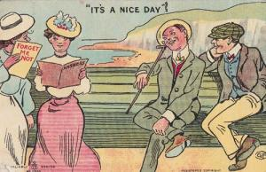 Its A Nice Day Forget Me Not Park Bench Love Lover Flirting Antique Postcard