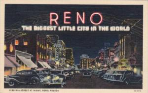 Nevada Reno Virginia Street At Night 1940 Curteich