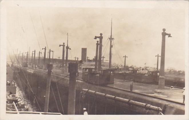 Panama Canal Zone U S S North Dakota In Lock Real Photo