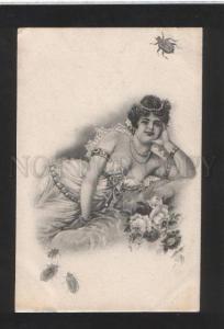 071751 HAREM Female Plump SLAVE w/ BEETLE vintage PC
