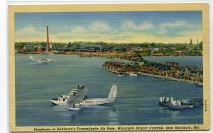 Flying Boat Plane Air Base Airport Terminal Baltimore Maryland linen postcard
