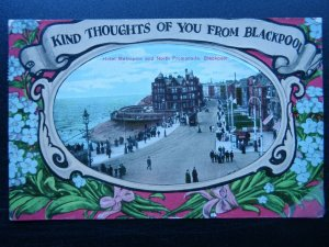BLACKPOOL GREETINGS King Thoughts of You HOTEL METROPOLE c1910 RP Postcard