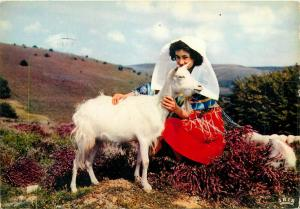 France Limousin les monedieres folk type woman & goat postcard
