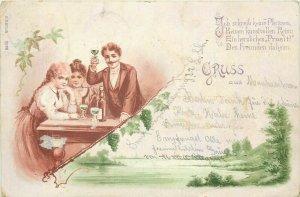 Gruss aus 1899 chromo litho people cheers champagne fantasy Switzerland postcard