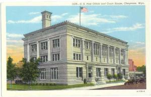 Linen of Post Office and Court House Cheyenne Wyoming WY