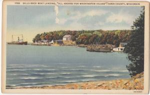 Gills Rock Boat Landing, Door County, Wisconsin, linen Postcard