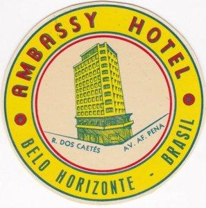 Brasil Belo Horiconte Ambassy Hotel Vintage Luggage Label sk1328