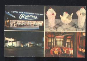 WINTER PARK FLORIDA RONNIES RESTAURANT ICE CREAM SHOP ADVERTISING POSTCARD