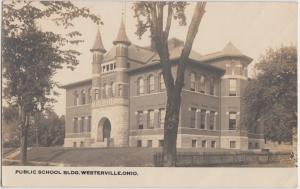 Ohio Real Photo RPPC Postcard c1910 WESTERVILLE Public School Building