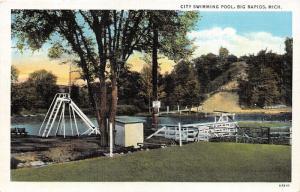 Big Rapids Michigan~City Swimming Pool~Waterslide~Sign on Tree~1940s Postcard