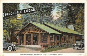 Log Cabin Lobby BROOKDALE LODGE Santa Cruz County, CA c1920s Vintage Postcard