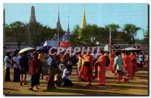 Postcard Old New Year's festival in Royal Snam Luang ground to give food to m...