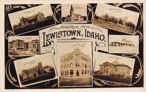 Lewiston Idaho~Multi Mini Views~Union Depot~Weisgerber Block Owl Drug~1915 RPPC