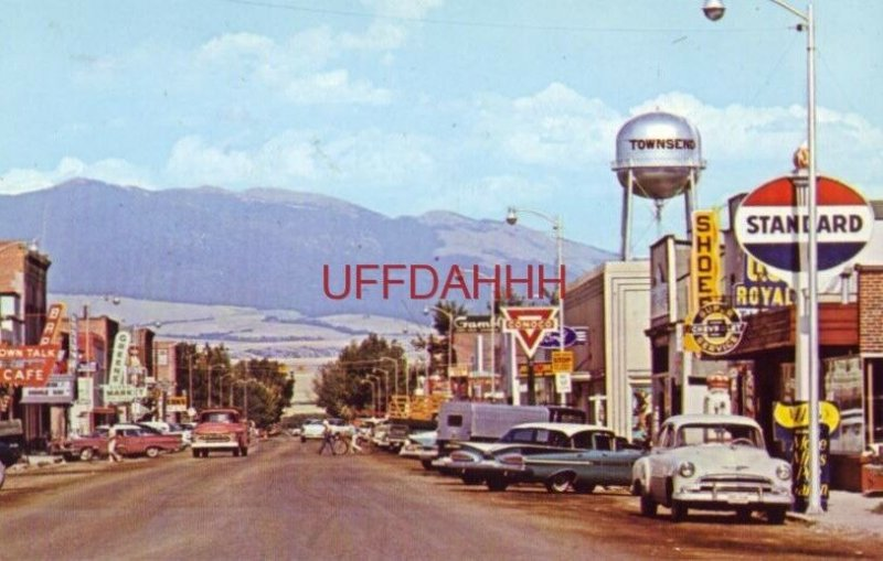TOWNSEND, MT. Town Talk Cafe circa 1960 Standard Greens Market Conoco