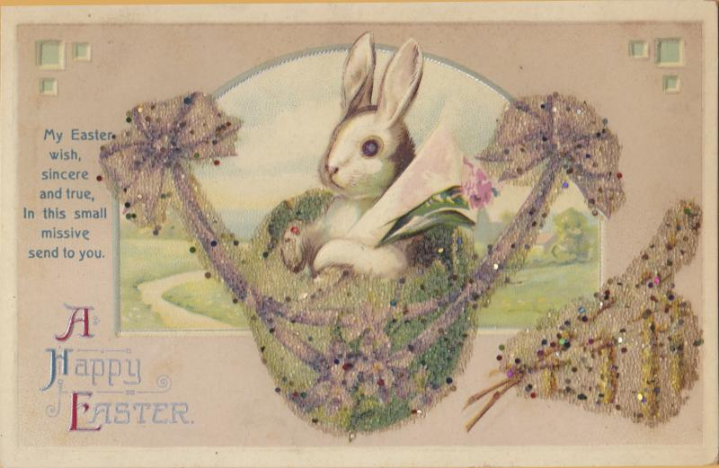 Vintage Easter Bunny in Basket with flowers glitterMy