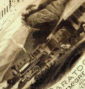 1882 Engraved Ticket Stub Saratoga Mt McGregor Lake George Railroad R.R. P156
