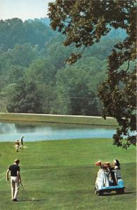 French Lick Indiana Sheraton Hotel & Country Club Golf Course~Golfers & Cart~60s