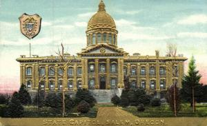 Salem, Oregon, State Capitol, Coat of Arms (1910s) Gold Embossed