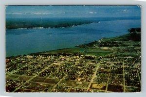 Anchorage AK, Aerial View, Knik Arm, Susitna Valley, Alaska Chrome Postcard