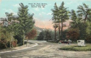 Kansas City Missouri~Penn Valley Park~Santa Fe Trail Marker~1910 Postcard