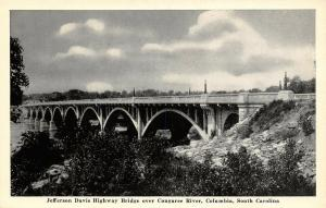 Columbia South Carolina~Jefferson Davis Highway Bridge~Congaree River~1930s B&W