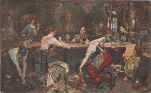 J.Miralles. Taller de Tapices. Carpets Workshop Fine painting, vintage Spanish