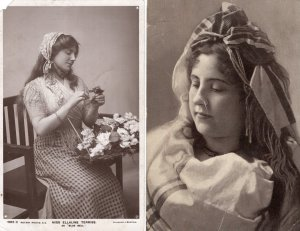 Girls / Women Two Early RPPC Postcards Foreign Ellaline Terriss, English Actress