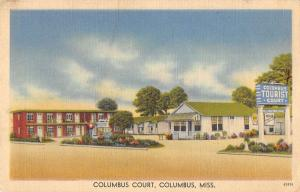 Columbus Mississippi Tourist Court Street View Antique Postcard K34046