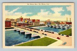 Des Moines IA-Iowa, Des Moines River, Linen Postcard