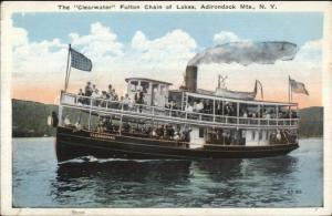 Adirondacks Fulton Chain of Lakes Steamer Ship Clearwater c1920 Postcard