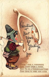 Christmas & New Year Greetings  Embossed Raphael Tuck  #C2022 Postcard