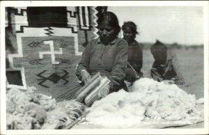 Arizona Native Navajo Indians Frasher's Real Photo Postcard CARDING WOOL